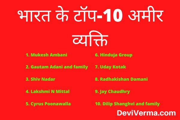 top 10 amir aadmi in india